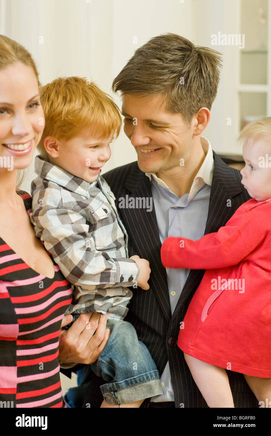 A family with two small children, Sweden. - Stock Image