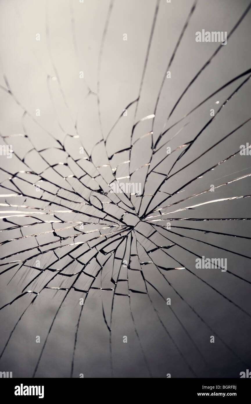 Cracked glass, Sweden. - Stock Image