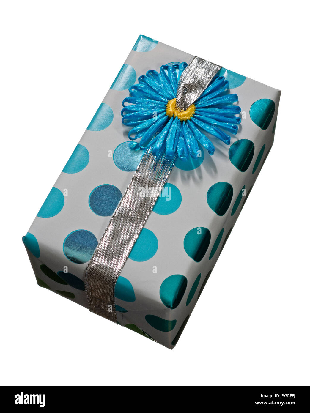 A wrapped gift against a white background. - Stock Image