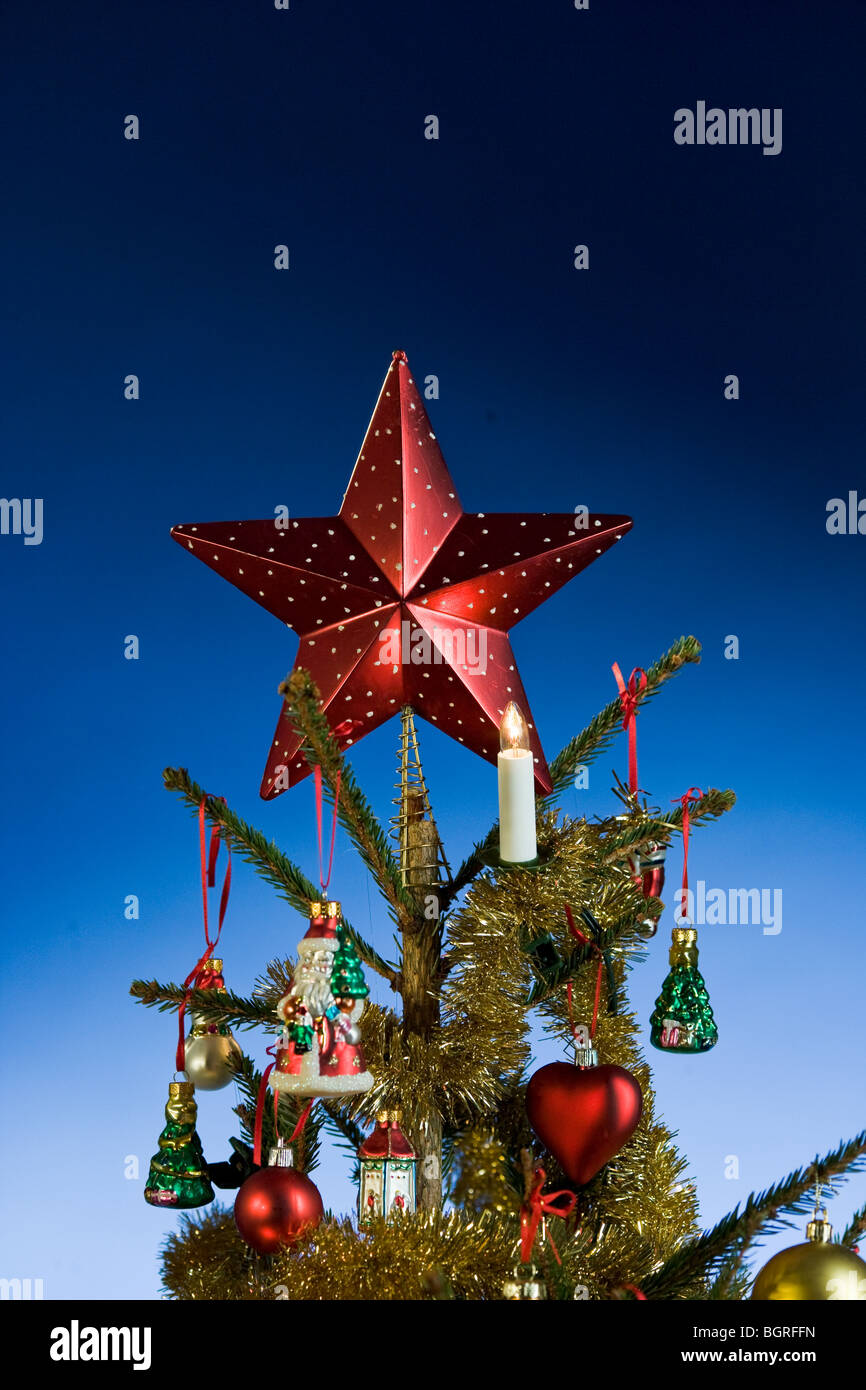 Christmas tree with a star on the top. - Stock Image