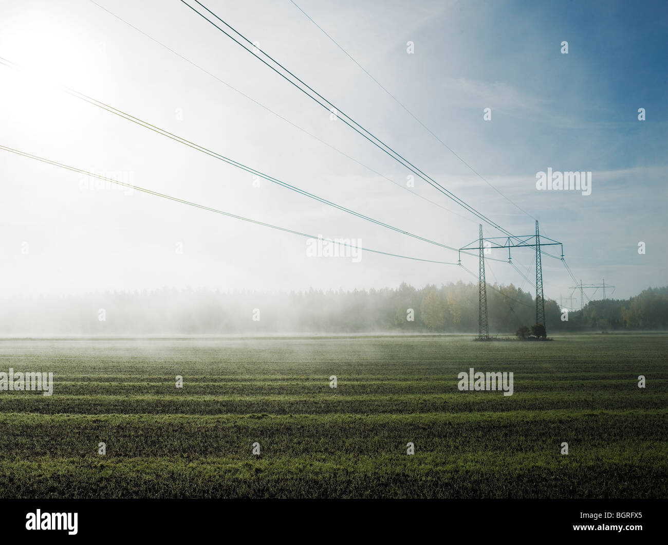 Electric lines above a foggy field, Sweden. - Stock Image