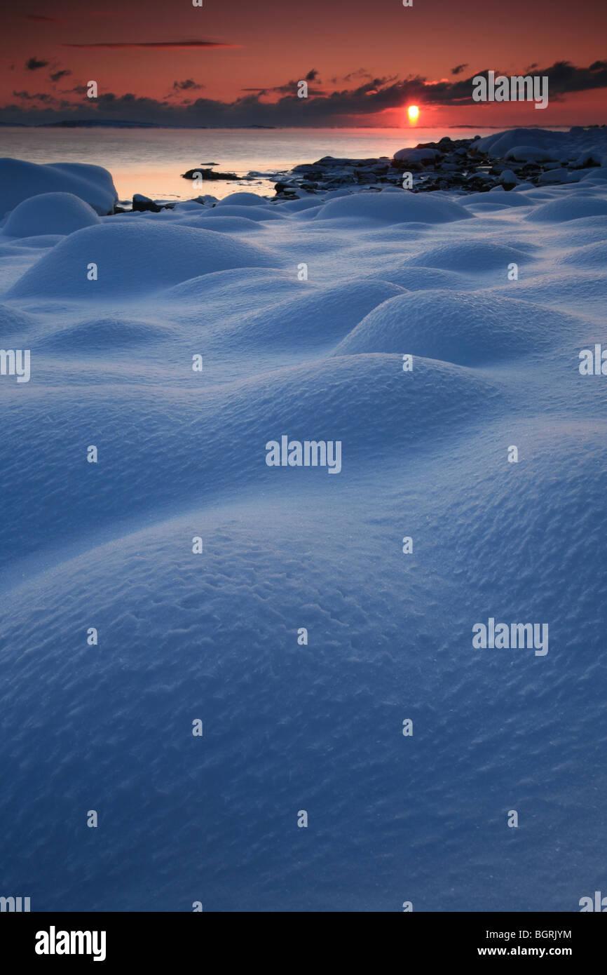 Beautiful winter sunset at Larkollen by the Oslofjord, Østfold fylke, Norway. - Stock Image