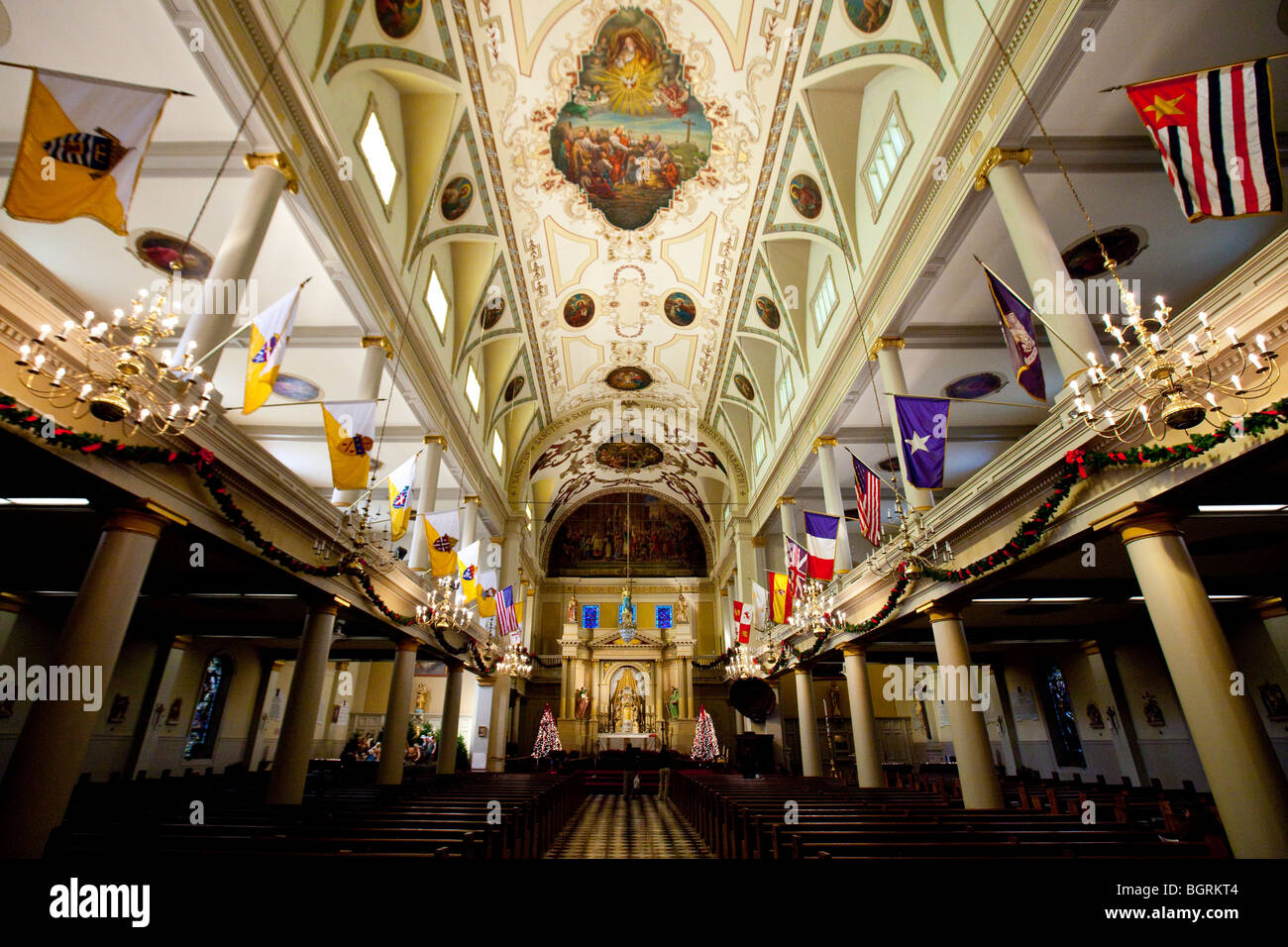 inside the st louis cathedral in the french quarter of new orleans