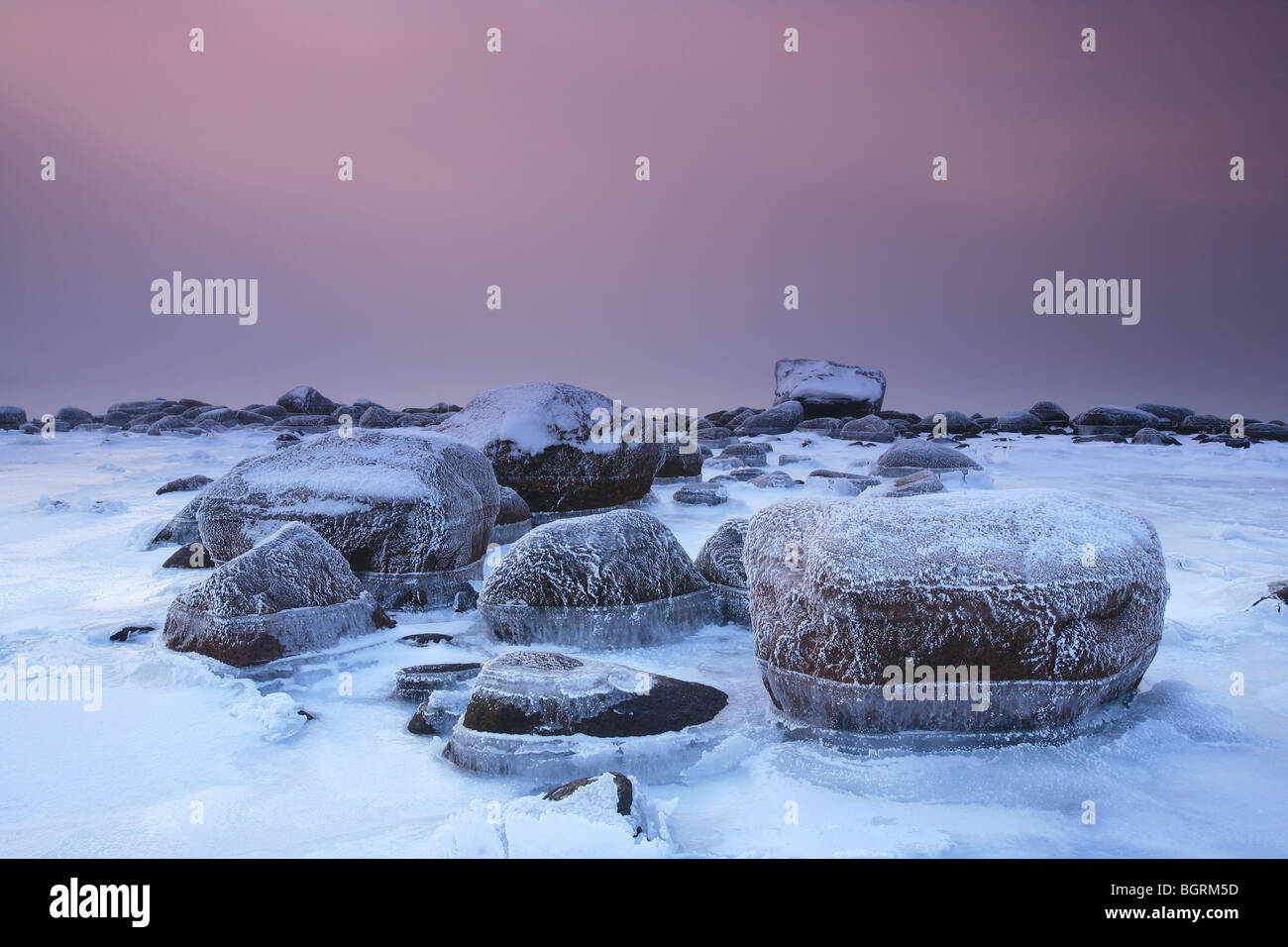 Frosted coastline and sea fog by the Oslofjord at Larkollen in Rygge, Norway. - Stock Image