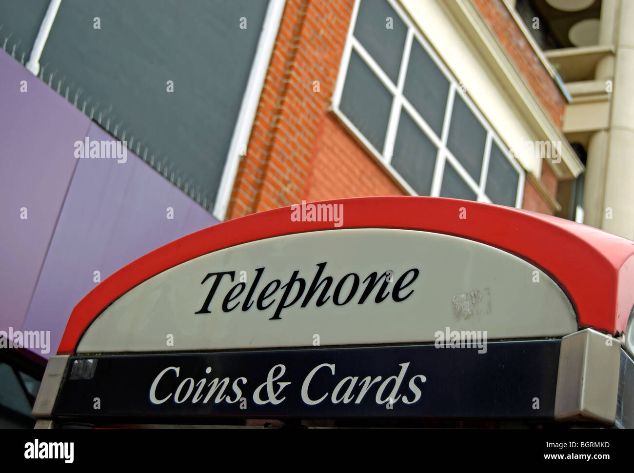 detail of british public telephone box accepting coins and cards - Stock Image