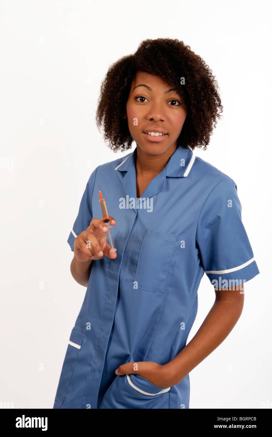 Young Beautiful Woman Nurse Syringe Female Stock Photo
