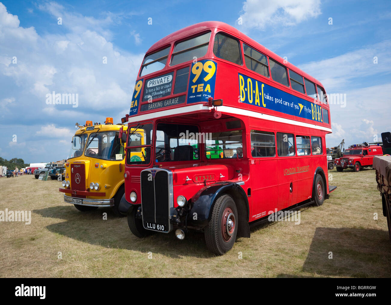 classic red Routemaster bus at a show - Stock Image