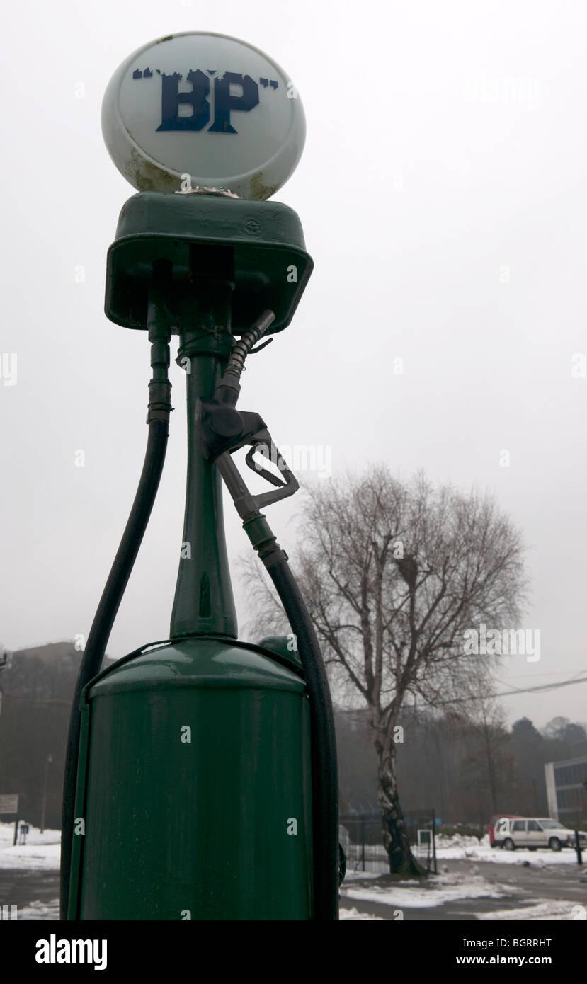 Old BP Petrol Pump at Brooklands Museum - Stock Image