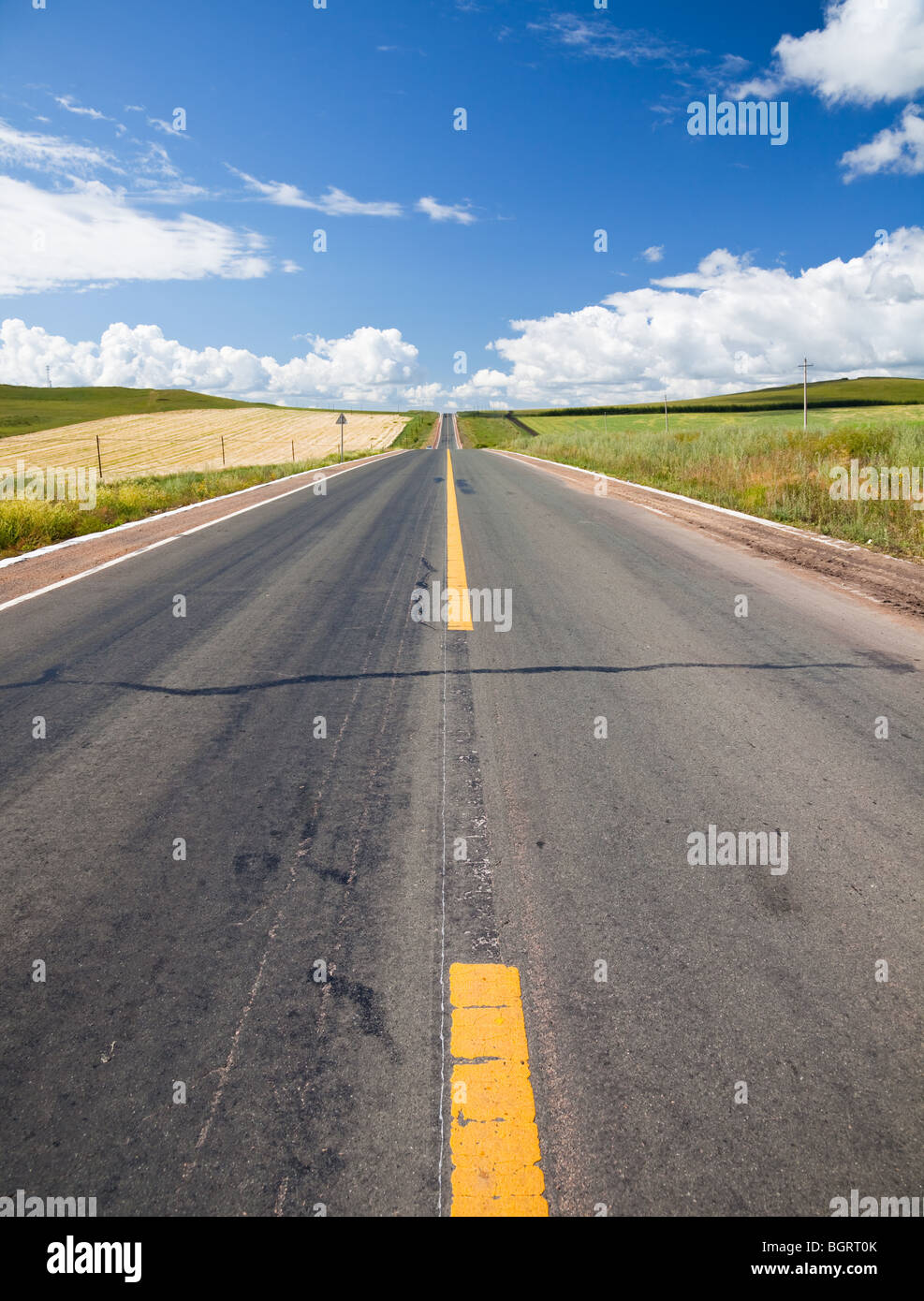 asphalt country road - Stock Image