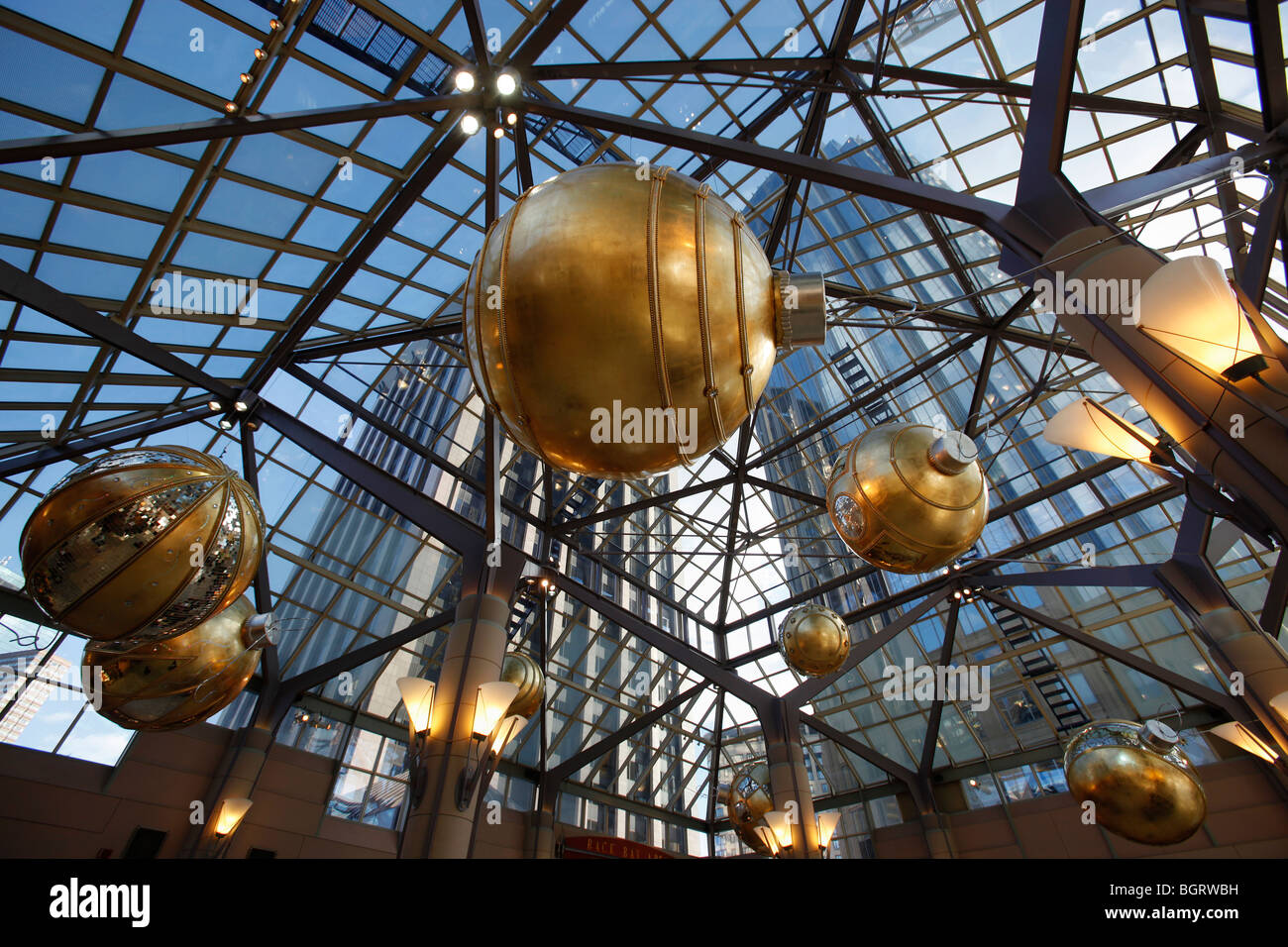 Christmas decorations, indoor shopping mall, Boston, Massachusetts - Stock Image