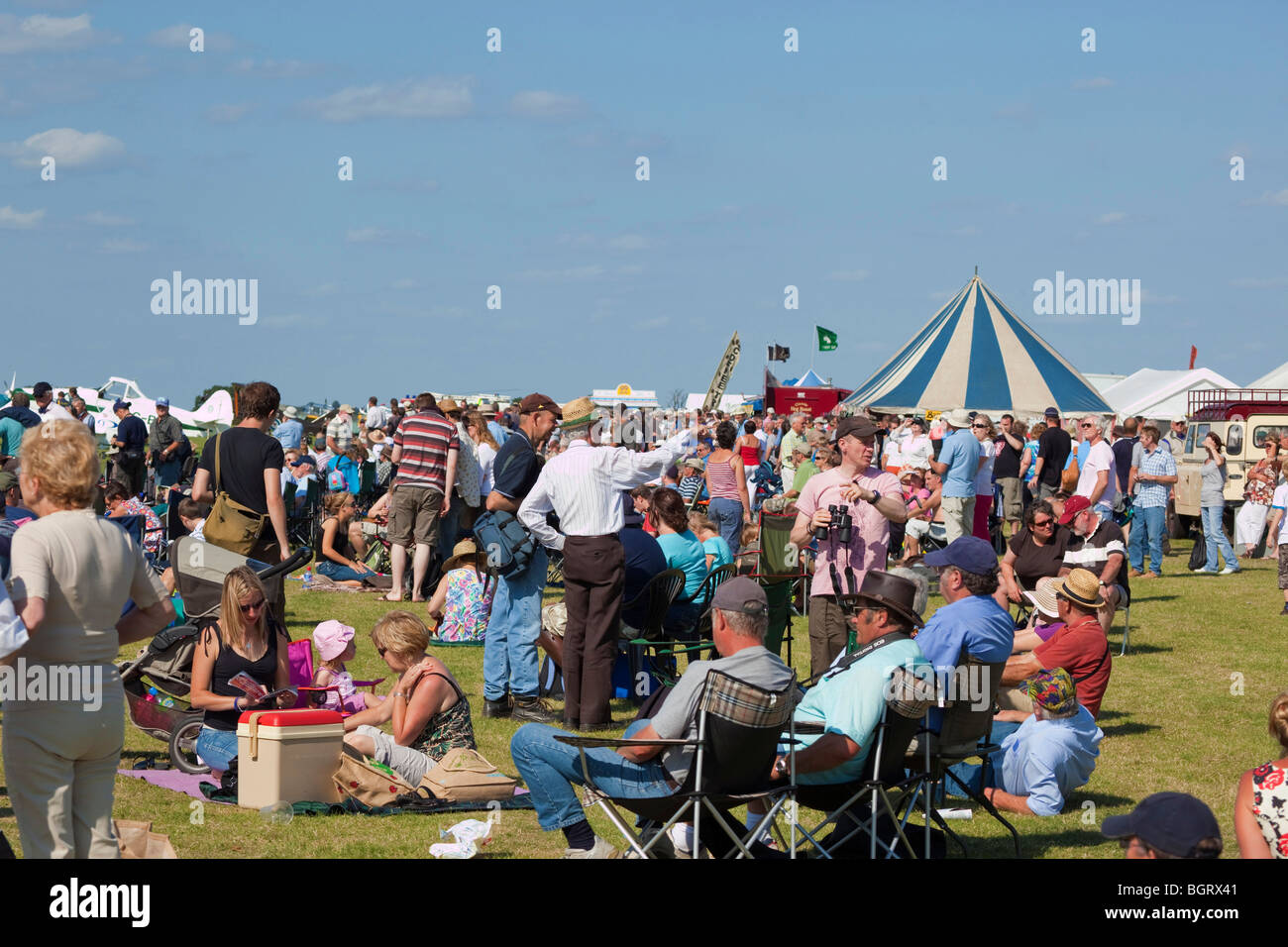crowds of people at local public event at Rougham Airshow in Suffolk,  UK - Stock Image