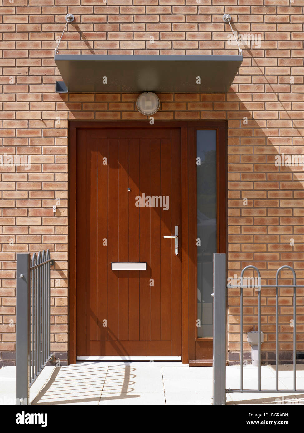Door on modern housing Development, Northern England - Stock Image