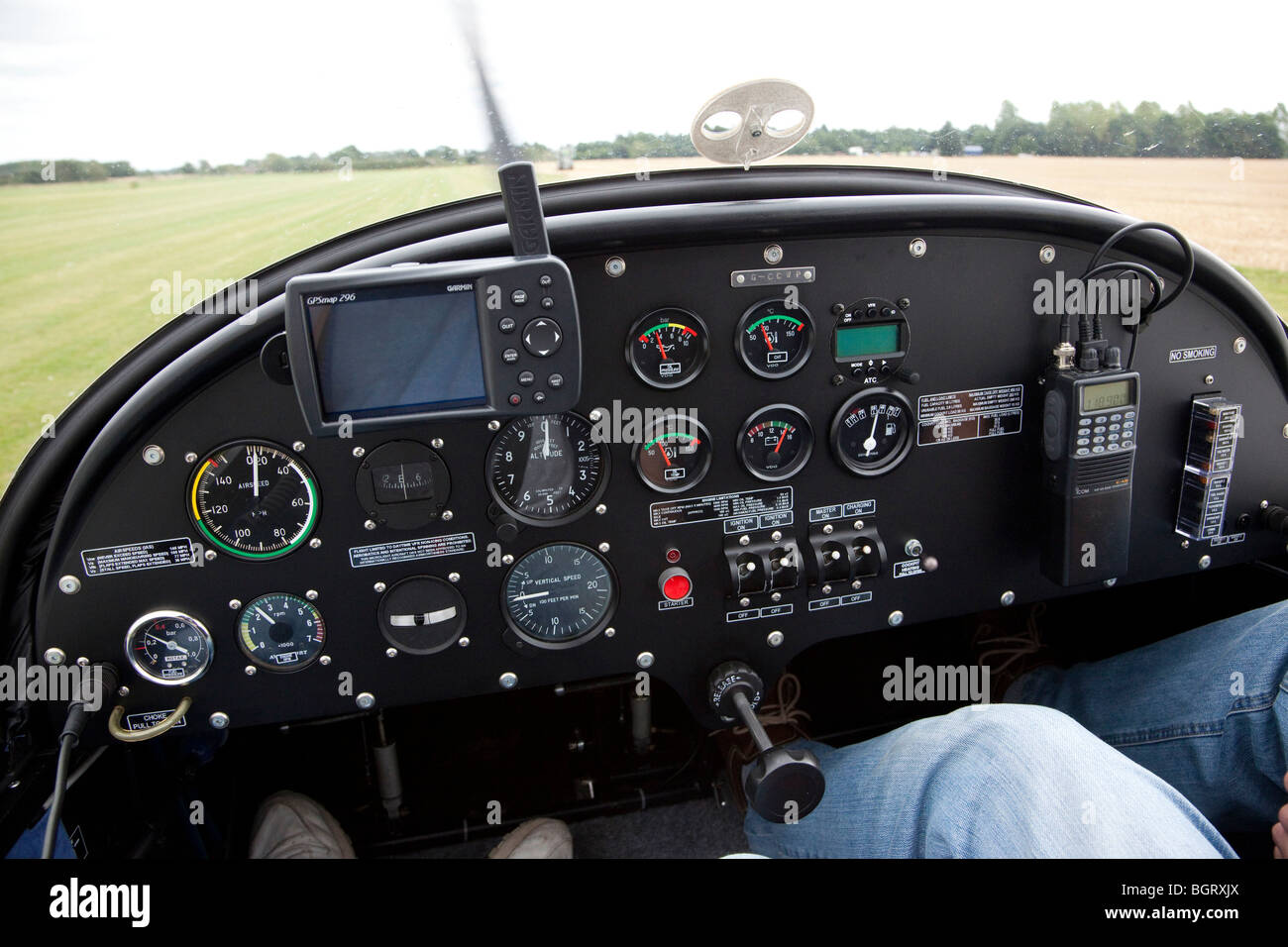 instrument panel inside cockpit of light aircraft EV-97 Evektor EUROSTAR - Stock Image