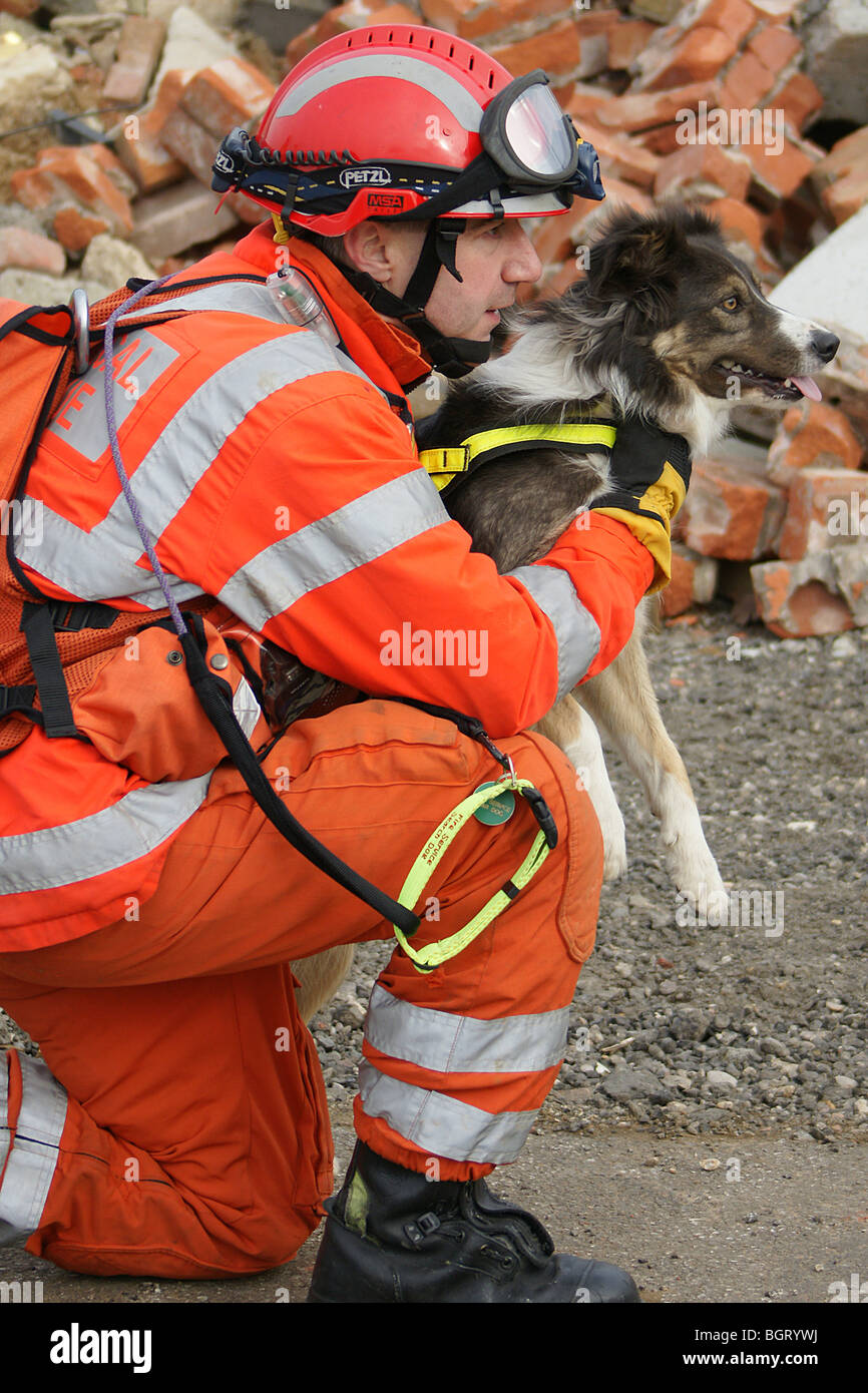 USAR fire-fighter with  Rescue dog, - Stock Image