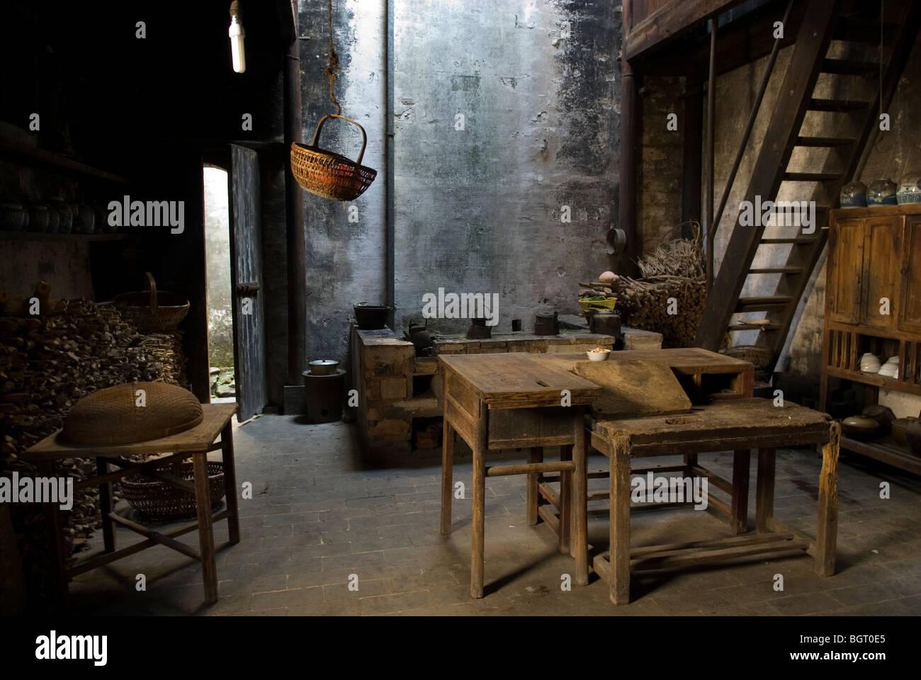 Kitchen of old merchant's house. Nanping, Anhui province. China. - Stock Image
