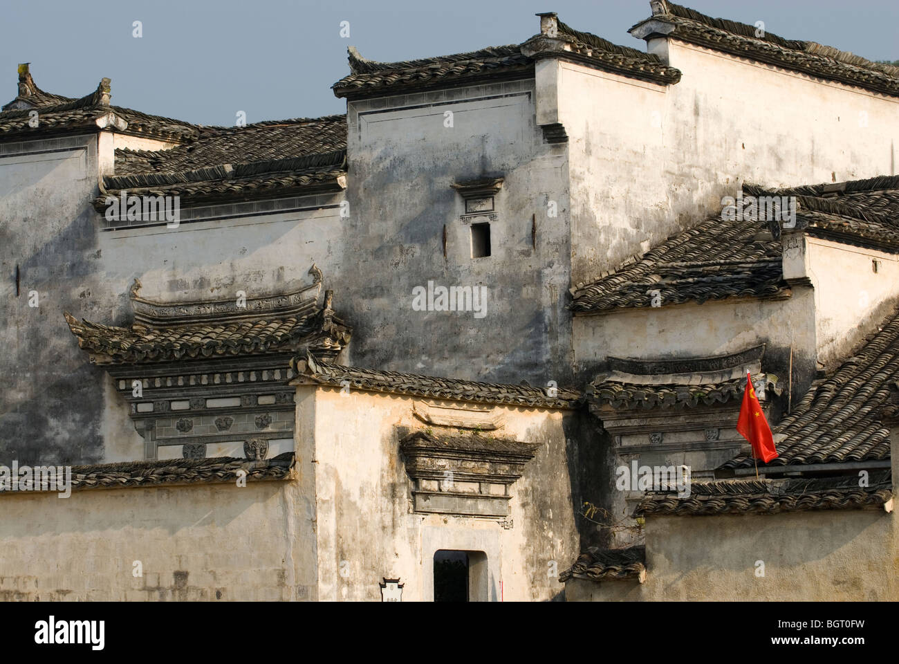 Outline of Huizhou houses in Hongcun. Anhui province, China. - Stock Image