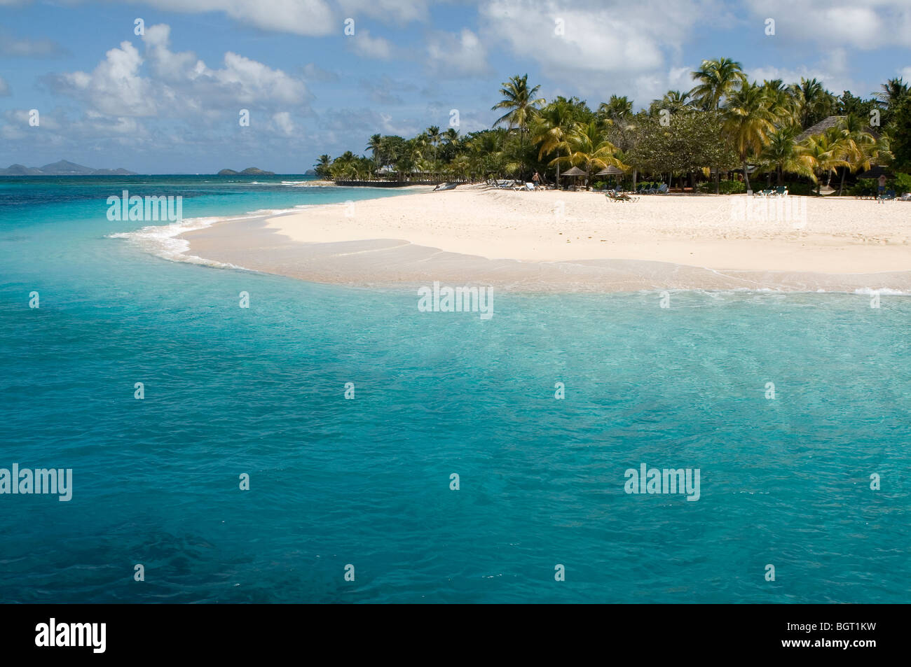 Desert Island, White Coral Sand and Turquoise Sea - Stock Image