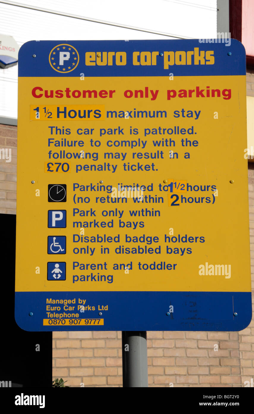 A Euro Car Parks Sign Warning Of Possible Penalty Charges In A Car