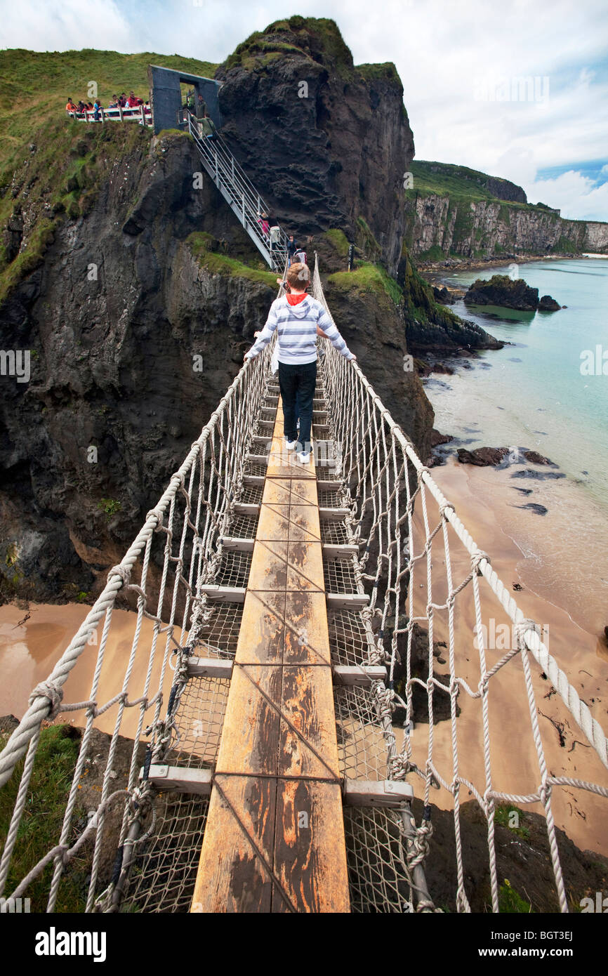 Carrick-a-Rede and Larrybane rope bridge - Stock Image