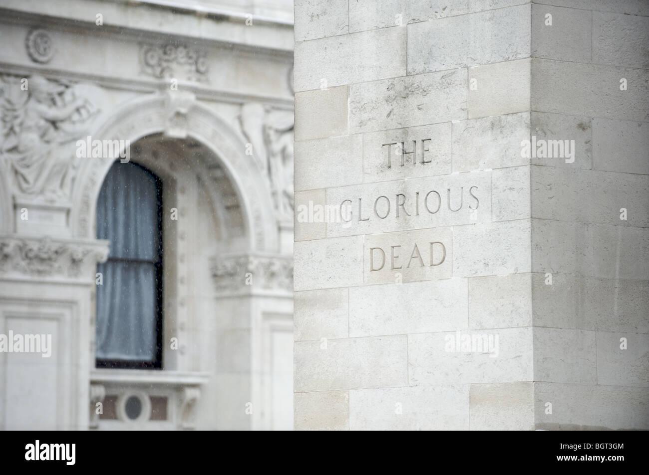 'The Glorious Dead' inscription on the Cenotaph, London - Stock Image