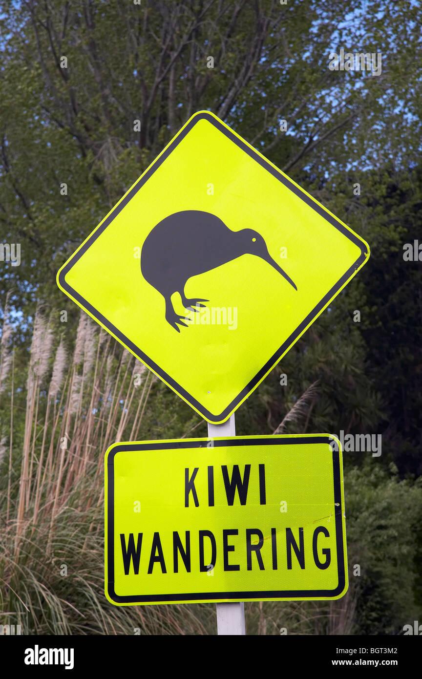 Kiwi Warning Sign, near Whakatane, Bay of Plenty, North Island, New Zealand - Stock Image