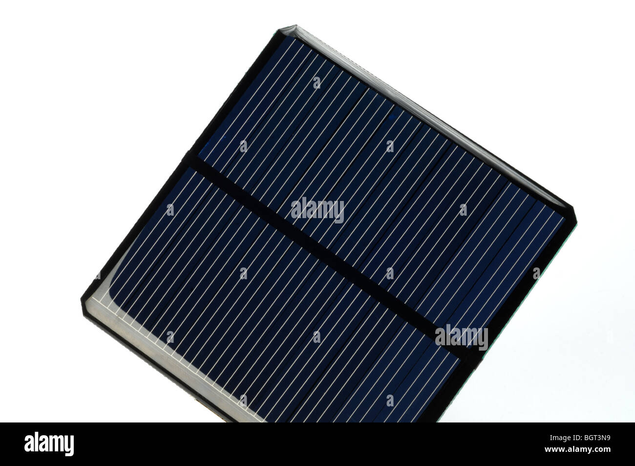 A square solar panel on a white background - Stock Image