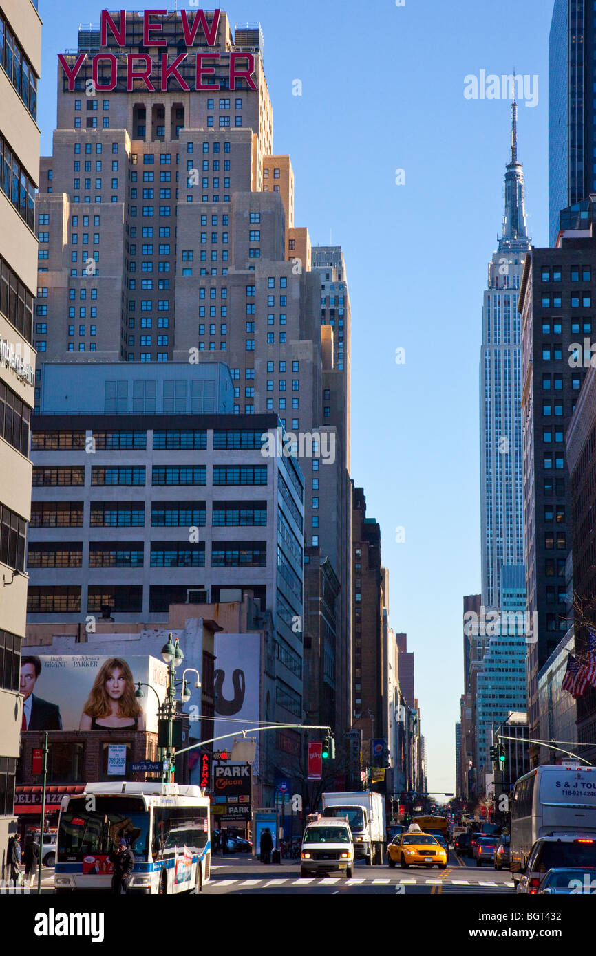 New Yorker Hotel And The Empire State Buidling In Midtown Manhattan Stock Photo Alamy