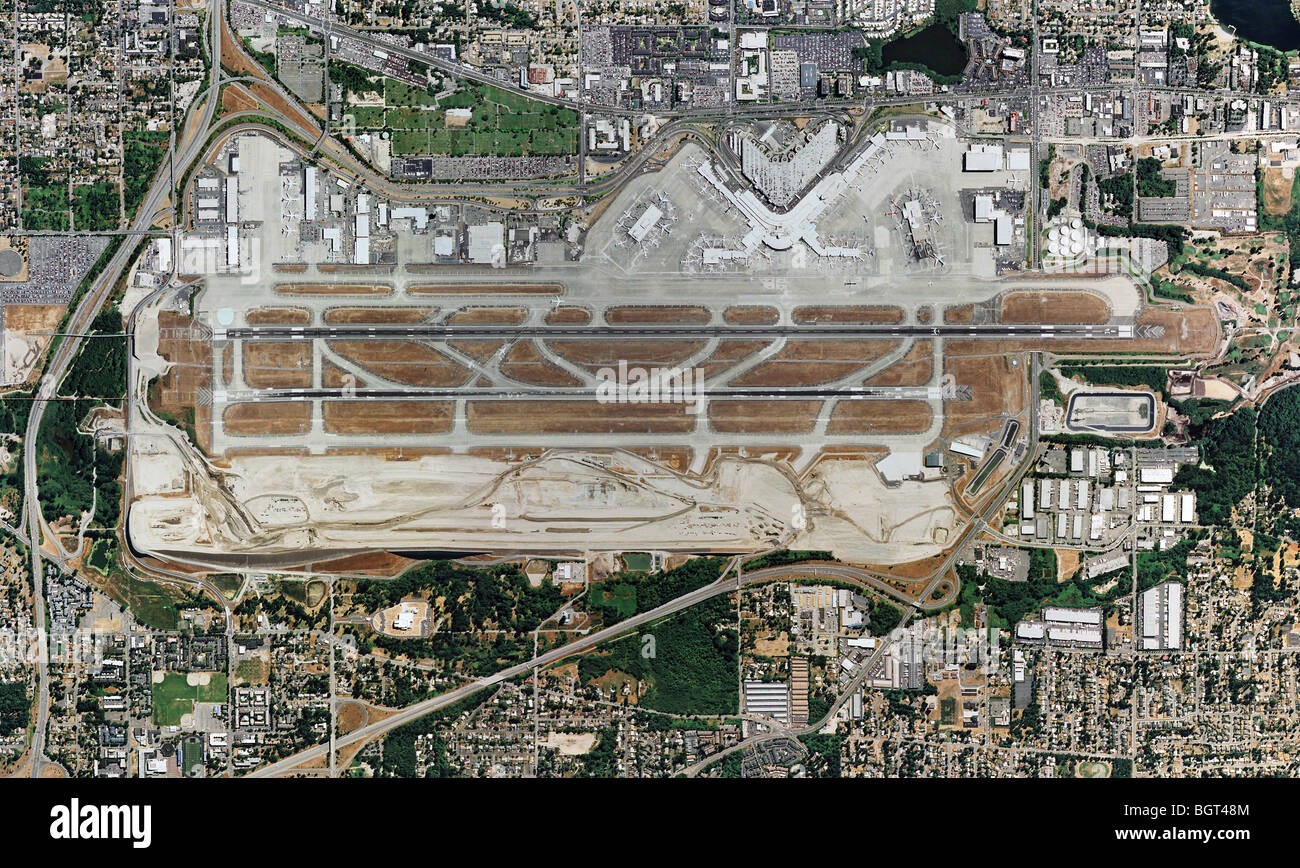 aerial map view above Boeing Field King County International Airport