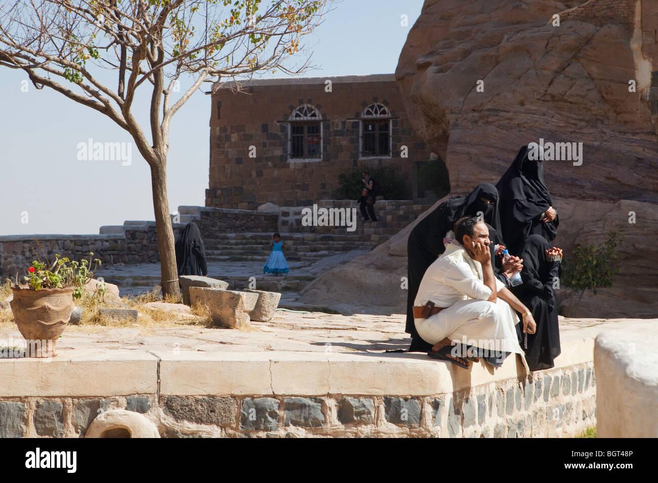 Outside the Imam's Summer Palace, Wadi Dahr, Yemen - Stock Image