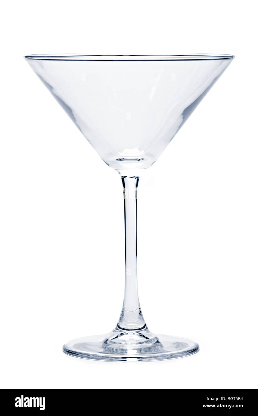 Empty martini glass isolated on white background Stock Photo