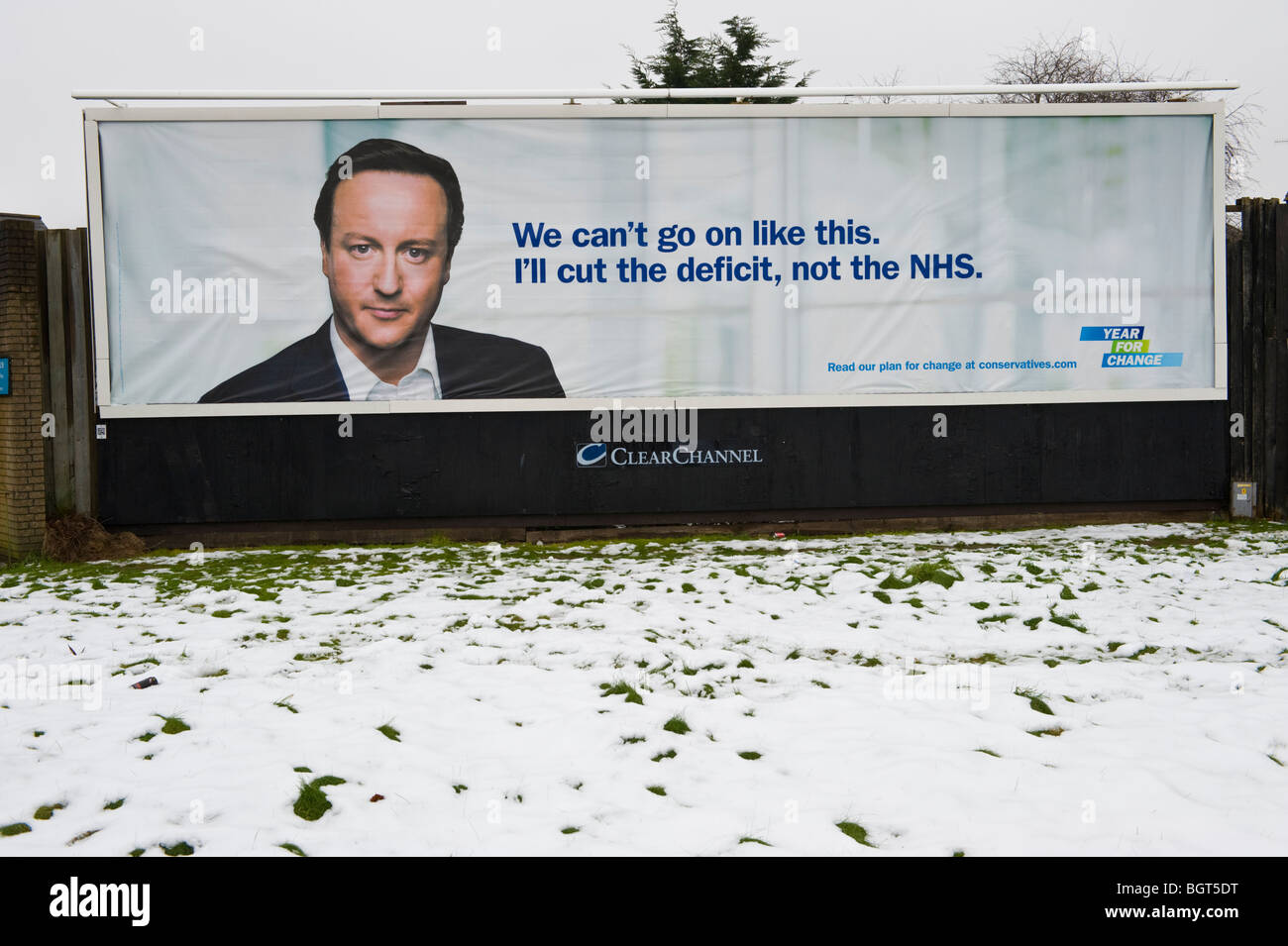 Conservative Party leader David Cameron featured on ClearChannel billboard site in Newport South Wales UK - Stock Image