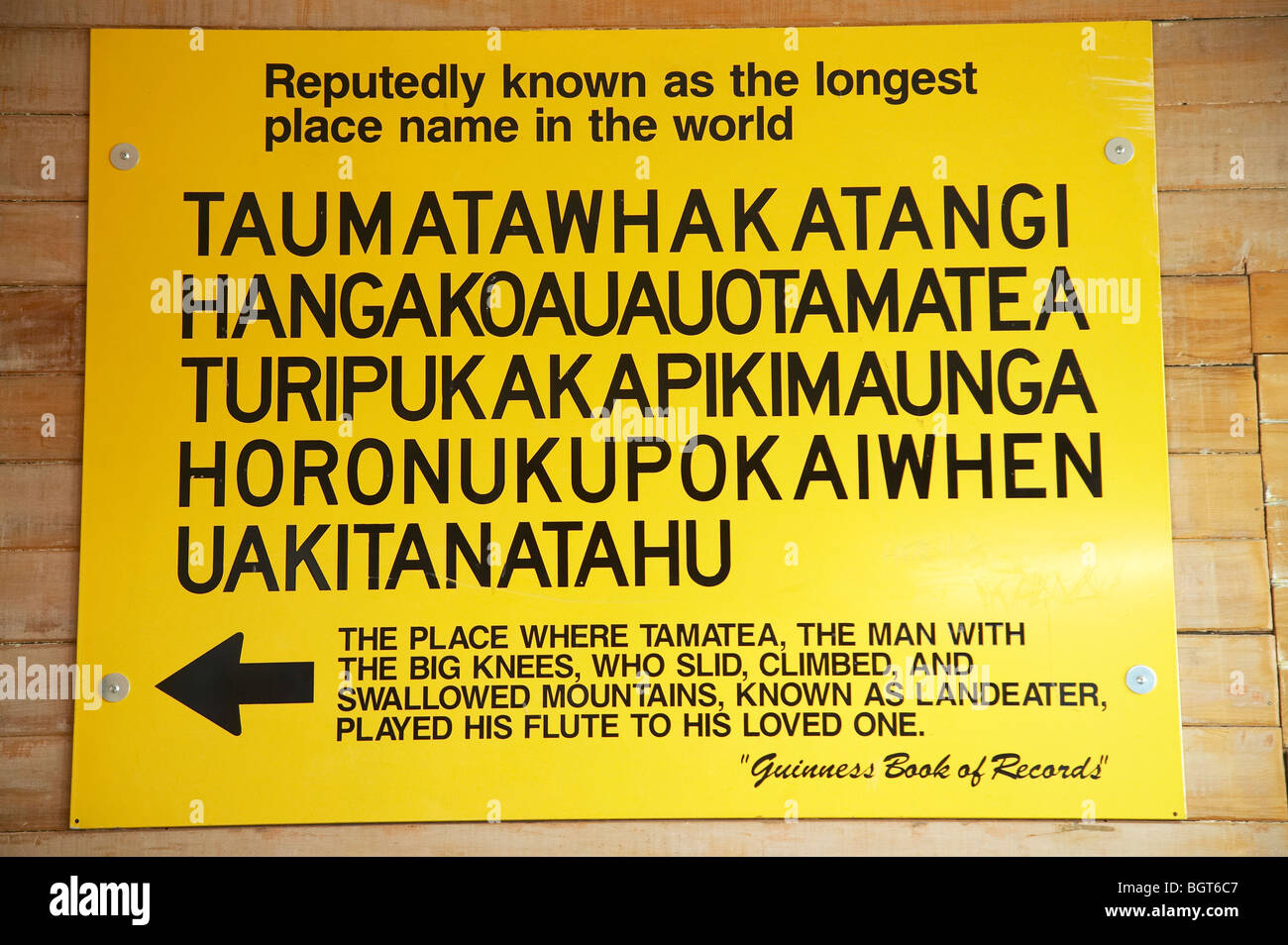 Sign for the World's Longest Place Name, Visitor Information Centre, Central Hawkes Bay, North Island, New Zealand - Stock Image