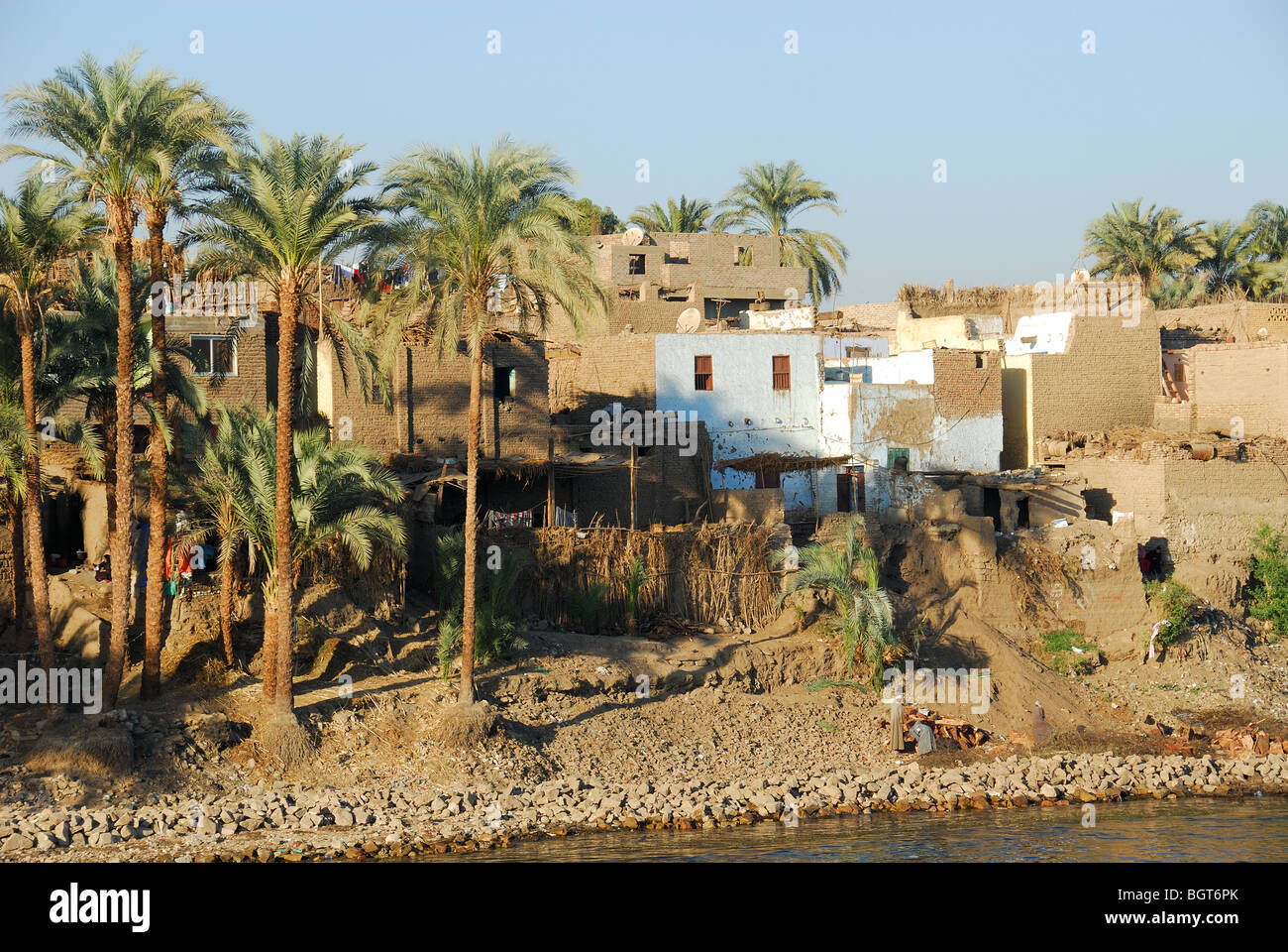 RIVER NILE, UPPER EGYPT. A village by the Nile between Luxor and Aswan. 2009. - Stock Image