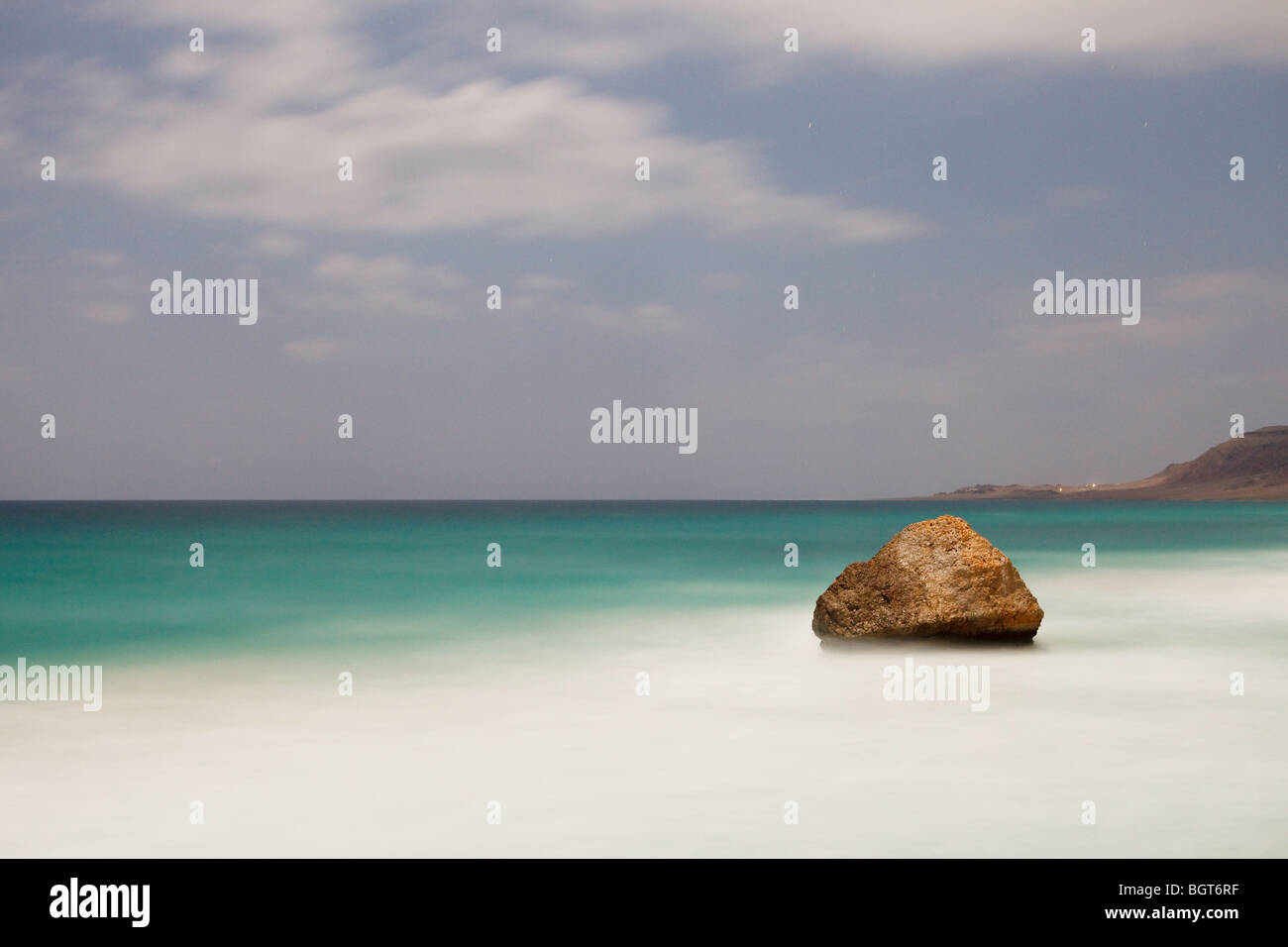 The coast at Arrarr by moonlight, Socotra Stock Photo