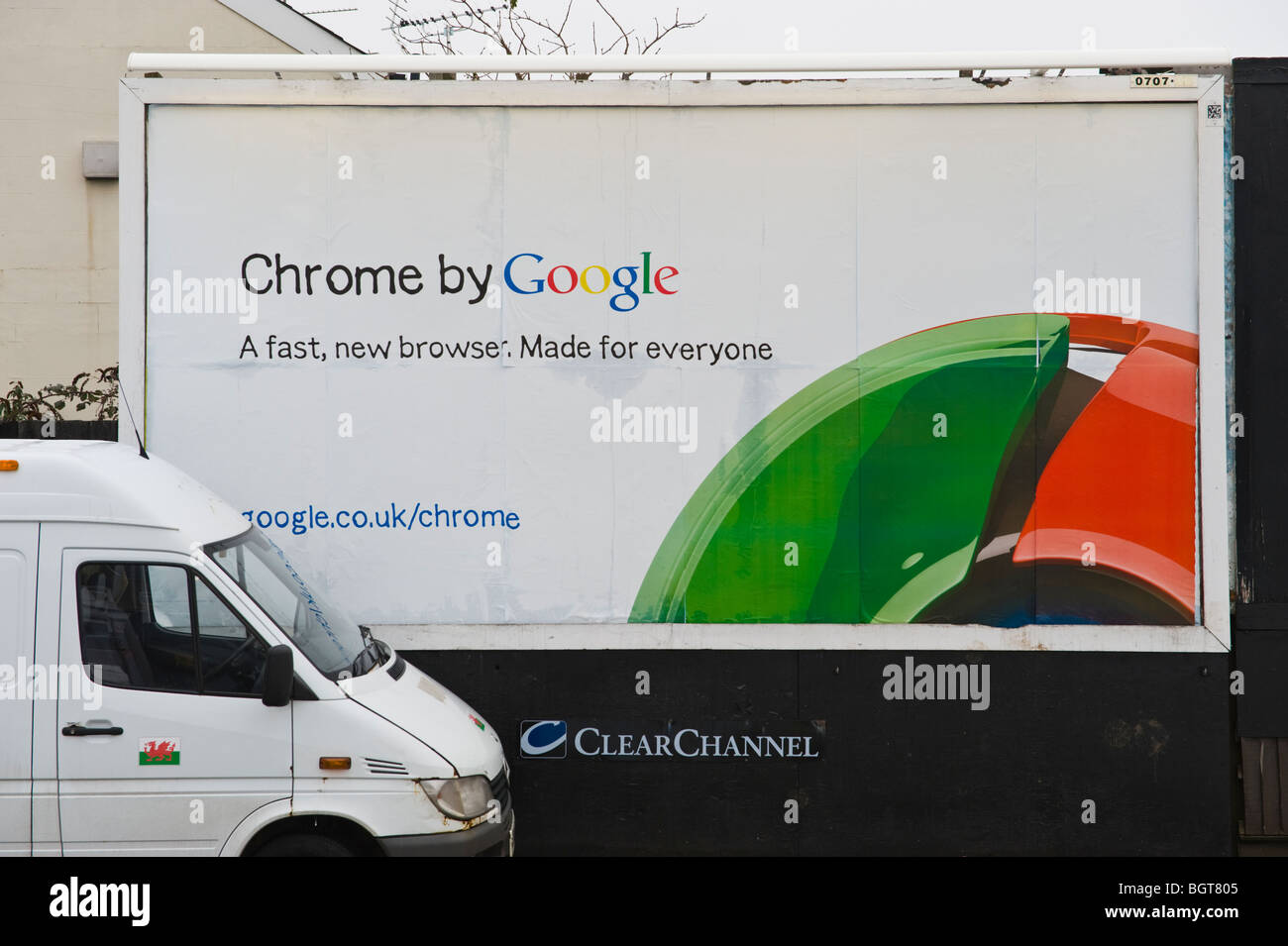 ClearChannel site with Google Chrome browser billboard in Newport South Wales UK - Stock Image