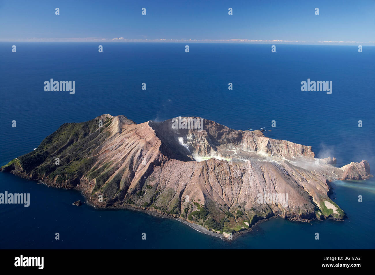 White Island, Active Volcano, Bay of Plenty, North Island, New Zealand - aerial - Stock Image