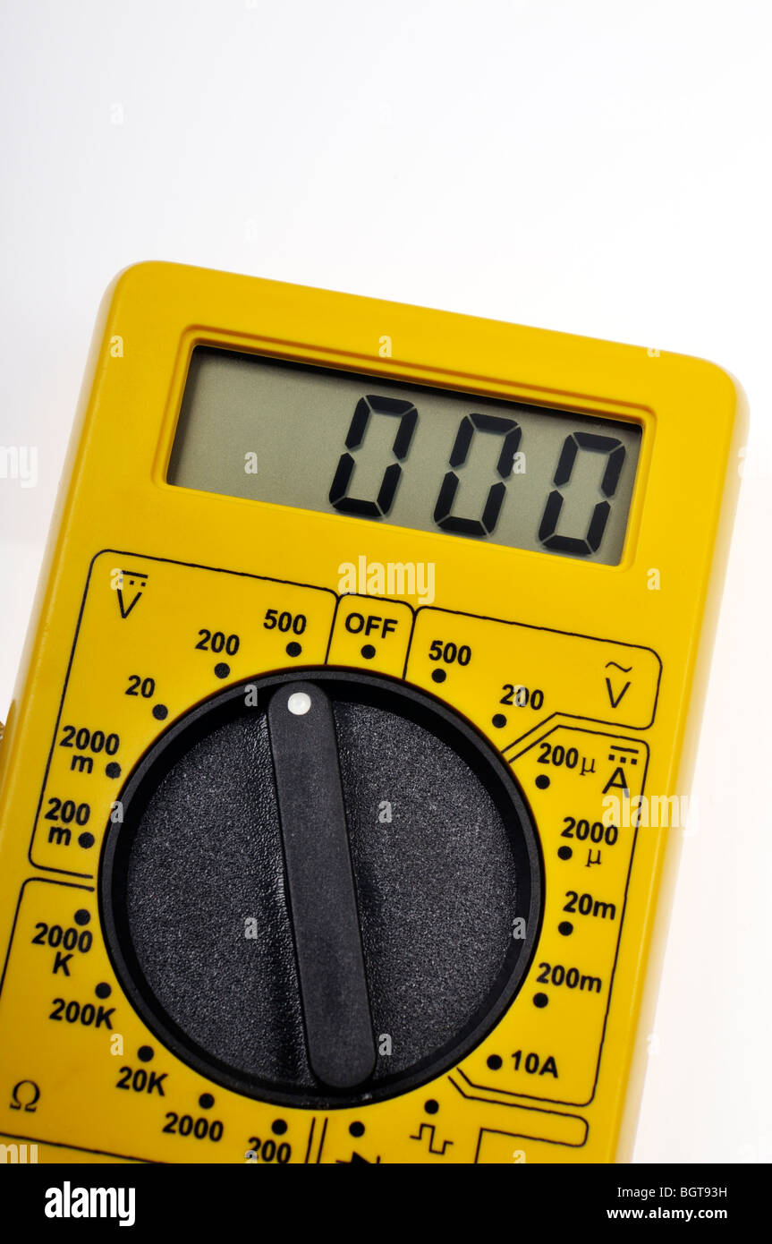 Digital LCD Electric voltage meter Stock Photo