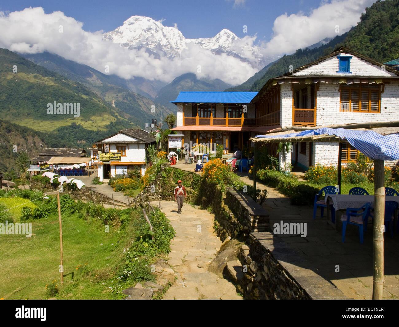 Photo taken while trekking through the town of Landruk in the Annapurna region, Nepal. - Stock Image