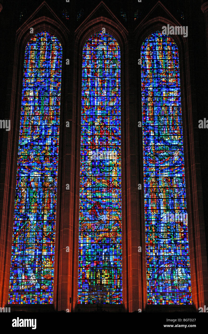 The Western Stained Glass Windows In Liverpool's Anglican Cathedral, Merseyside, UK Stock Photo