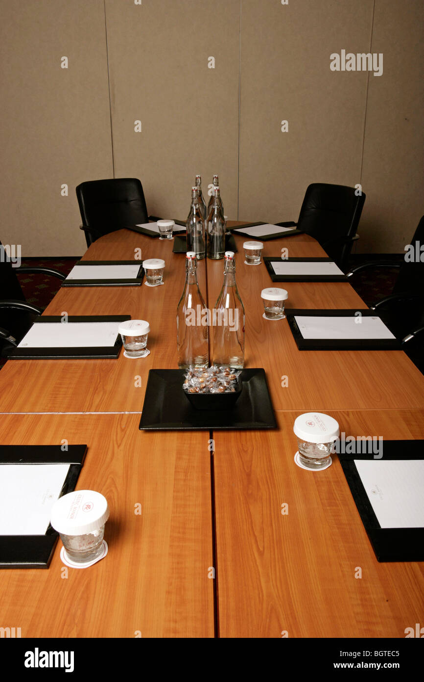 Conference room tables set for a meeting complete with water glasses pads and notepaper - & Conference Table Water Glasses Set Stock Photos u0026 Conference Table ...