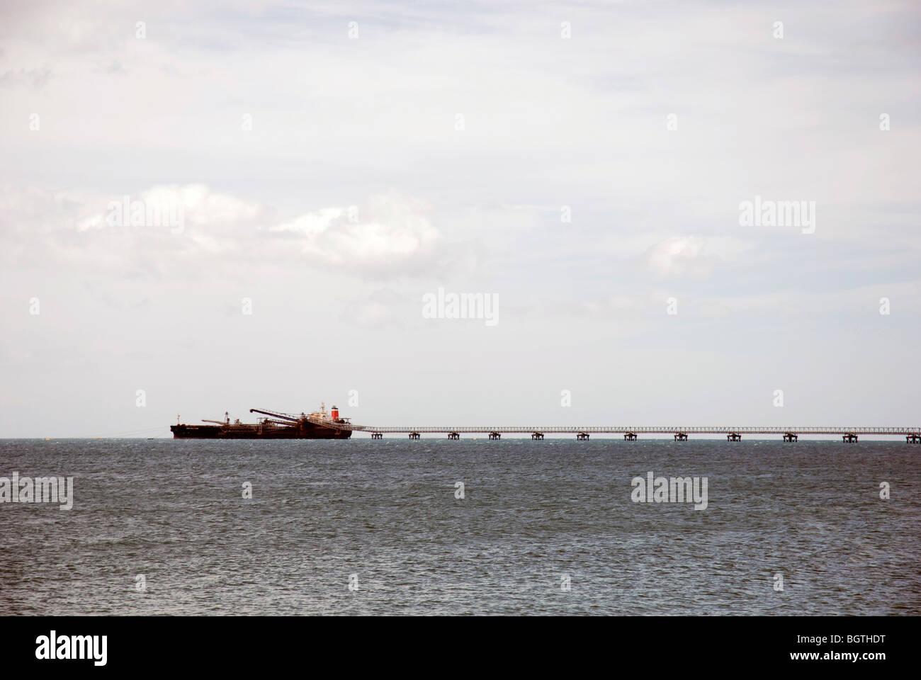 Bulk minerals cargo ship at Port Latta on the North West coast of Tasmania - Stock Image