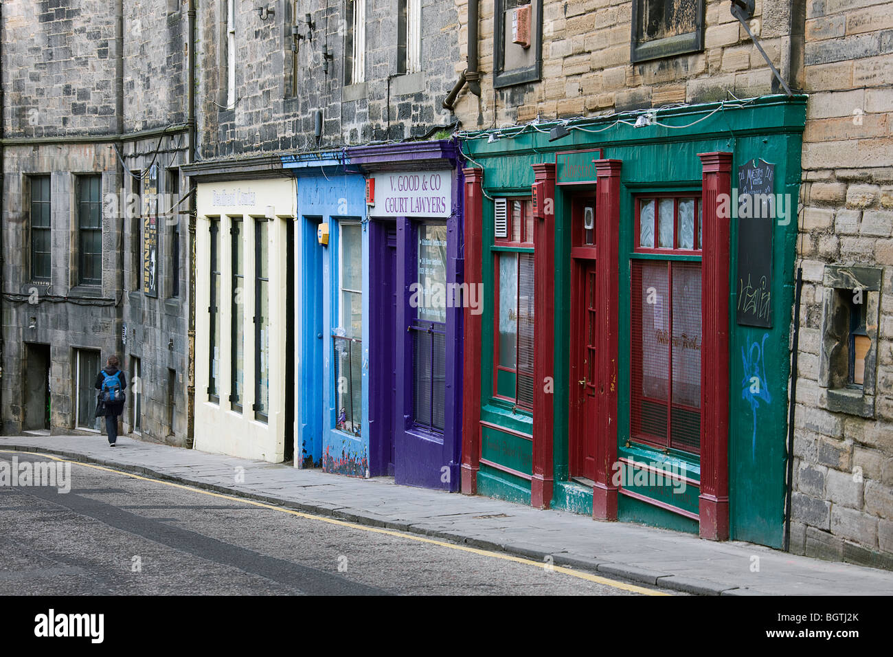 Shop fronts in candle maker row. Midlothian.  Edinburgh. - Stock Image