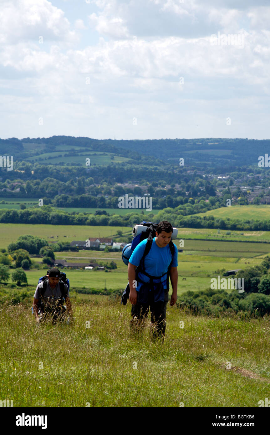 Hiking in Chiltern Hills, England - Stock Image