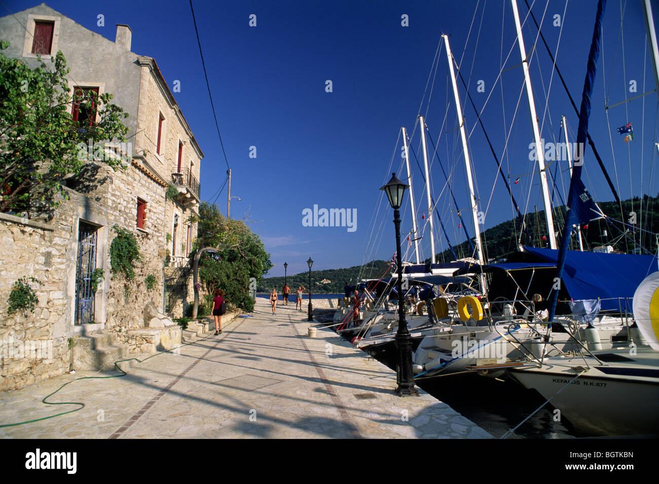 greece, ionian islands, ithaca, kioni waterfront - Stock Image