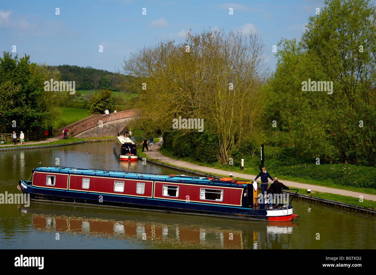Grand Union Canal (Leicester branch) near Foxton Locks. - Stock Image
