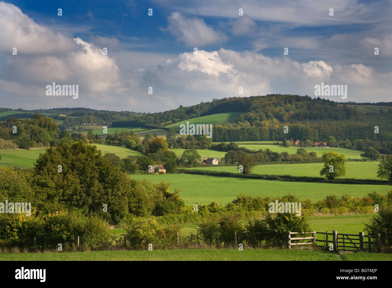 Hambleden Valley Buckinghamshire in early autumn - Stock Image
