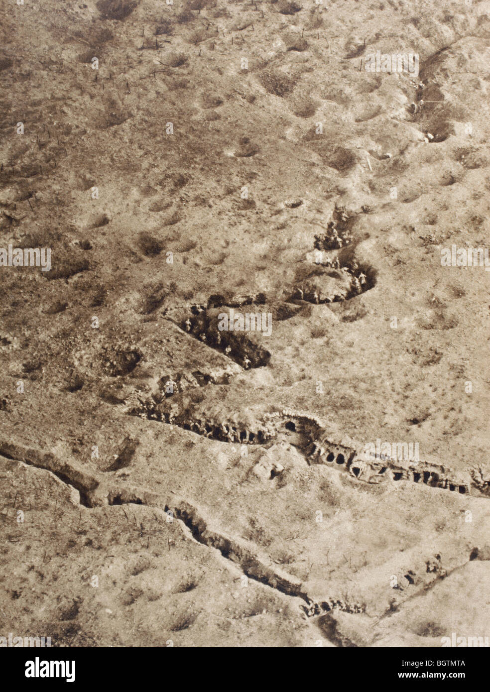 Aerial view of trenches on the Somme battlefield during the First World War. - Stock Image