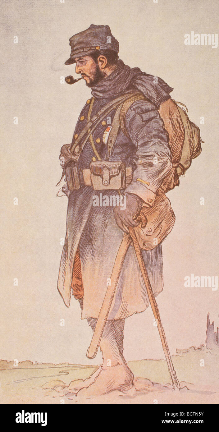 French officer dressed for winter on the Western Front during the First World War. - Stock Image