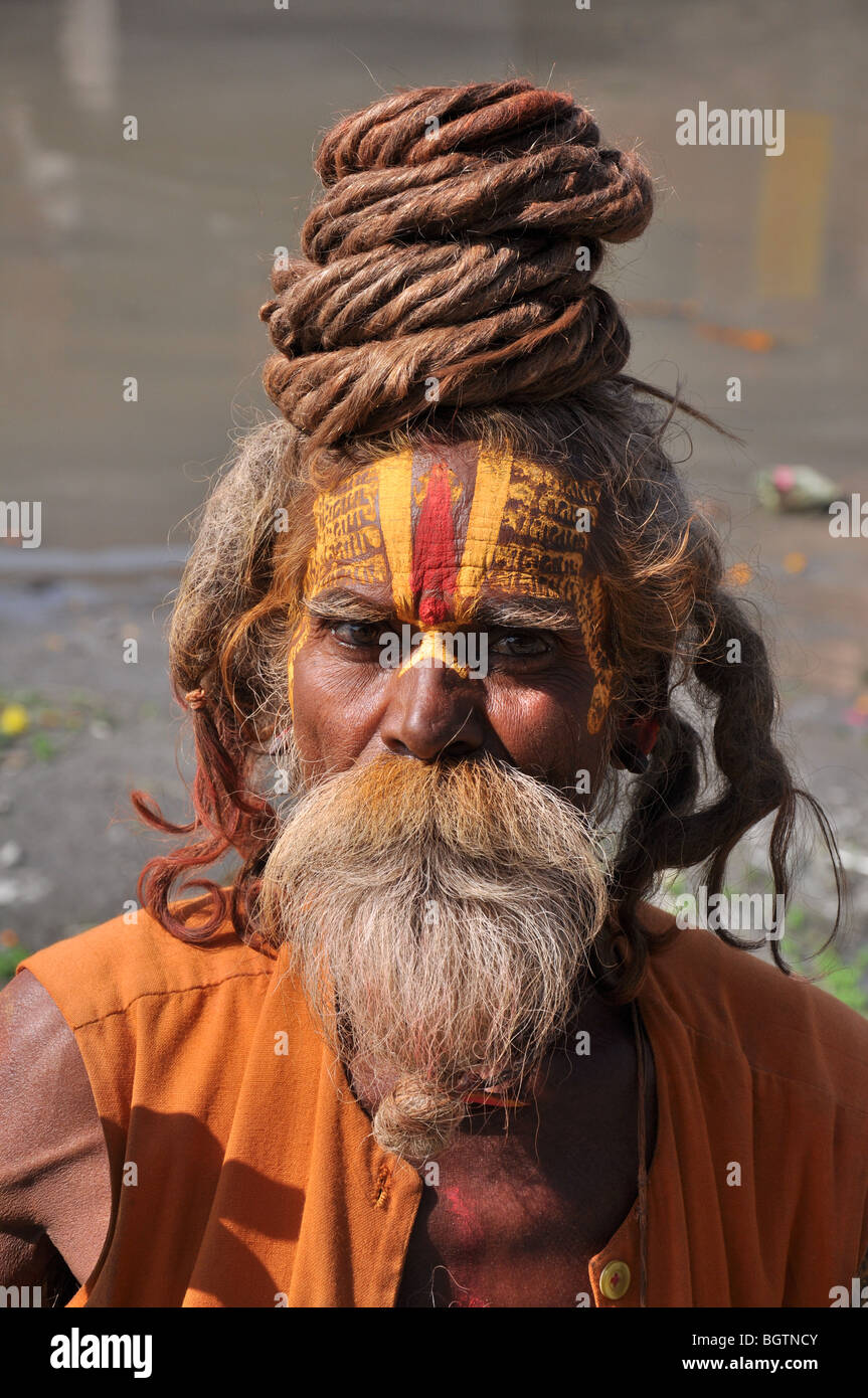 Close up of Sadhu at Pashupatinath Temple, Kathmandu. - Stock Image