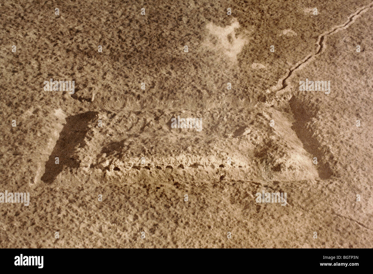 Aerial view showing state of the Fort de Vaux, Verdun, after protracted artillery shelling in 1916. - Stock Image